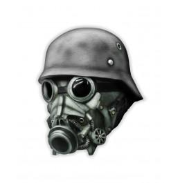Maska lateksowa zombie WW2 hełm żołnierza maska gazowa